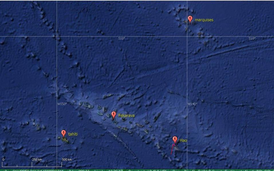 Distance de 560 miles entre Nuku hiva et Fakarava sud soit 5 jours de nave